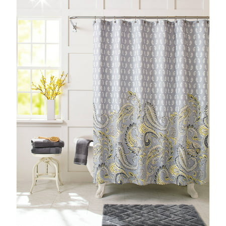 Better homes and gardens yellow paisley fabric shower Better homes and gardens curtains