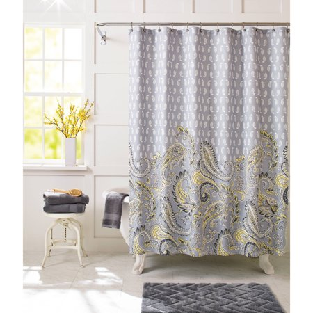 Better Homes & Gardens Yellow Paisley Fabric Shower Curtain, 1