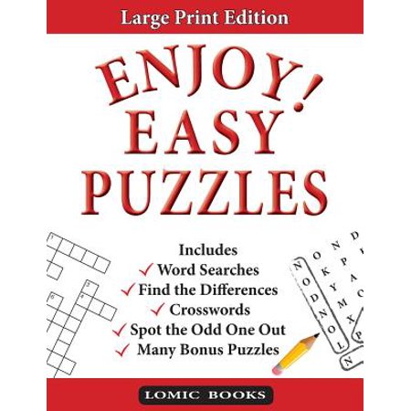 Enjoy! Easy Puzzles : Includes Word Searches, Spot the Odd One Out, Crosswords, Find the Differences and Many Bonus - Halloween Find Differences