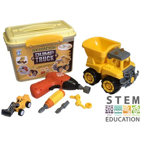 Take Apart Dump Truck Yellow Construction Toy 15 Piece Set. Perfect 4 Year Old Boy Gift. Includes Toy Screwdriver with Interchangeable Heads, Durable Carry Case, Easy to Assemble, Non-Toxic](Toys For Four Year Old Boy)