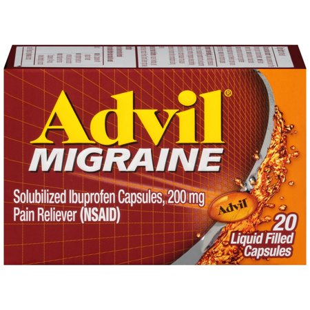 Advil Migraine (20 Count) Pain Reliever Liquid Filled Capsules, 200mg Ibuprofen, 20mg Potassiuim, Migraine Treatment