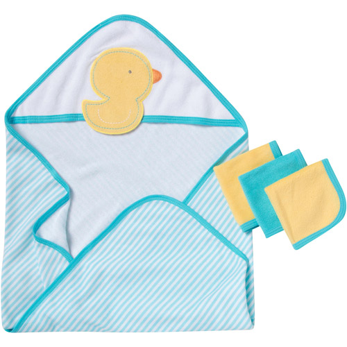 Gerber Newborn Baby Unisex Hooded Towel and Washcloth 4-Piece Set