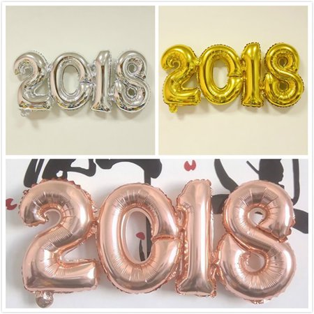 Micelec 2018 Year Numbers Inflatable Foil Balloon Birthday Party Celebration Decoration for $<!---->