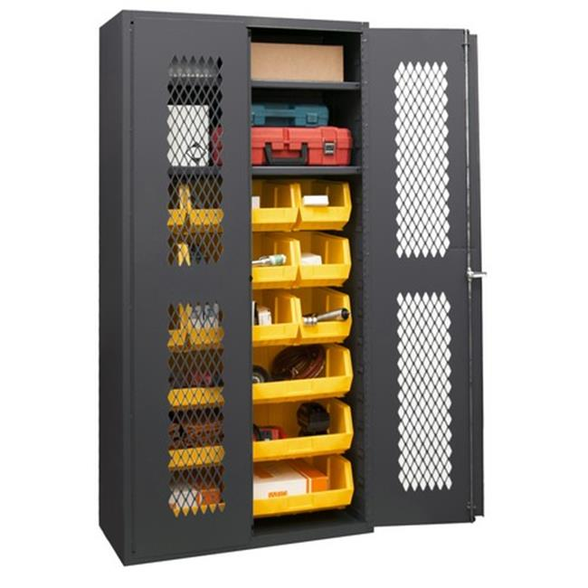 14 Gauge Flush Door Style Lockable Shelf Cabinet with 18 Yellow Hook on Bins & 2 Adjustable Shelves, Gray - 36 in.