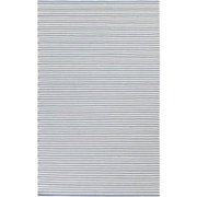 5' x 8' Simplicity Stripes Light Blue and Ivory Shed-Free Hand Woven Wool Area Throw Rug