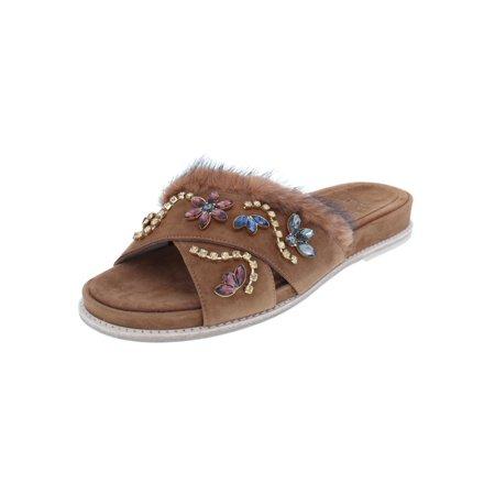 Stuart Weitzman Womens Nomdeplume Mink Fur Suede Dress Sandals