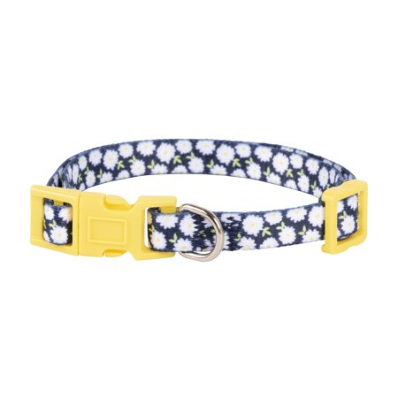 Vibrant Life Fashion Navy/Yellow Daisy Dog Collar, X-Small, 6-9 in, 1/4 in