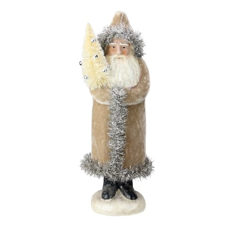 "13"" Tan Velvet Glittered Woodland Santa Claus Christmas Tabletop Figurine"