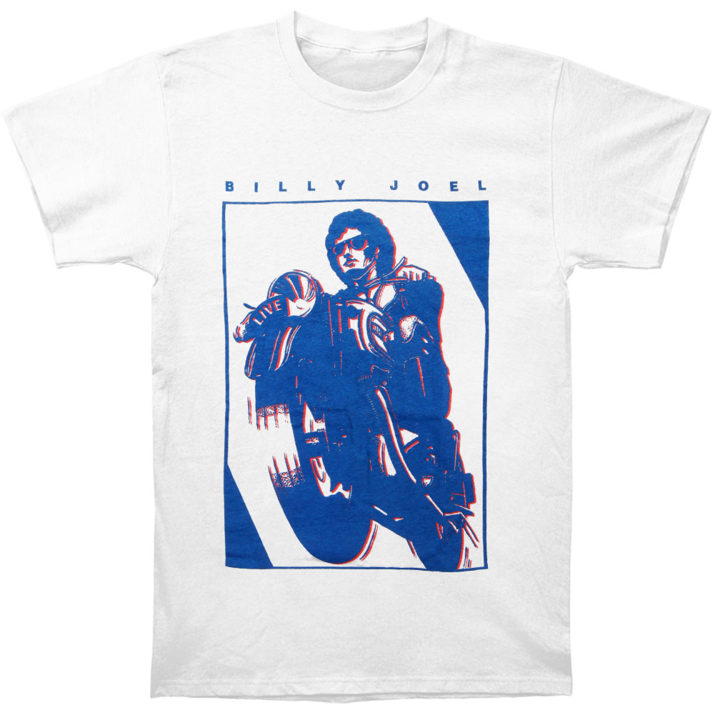 Billy Joel Men's  Moto 90's T-shirt White
