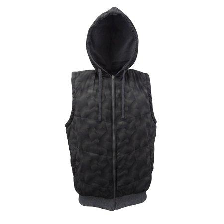 Men's Down Vests Jacket with Hood Sleeveless Hoodies Dark Grey Double Sided