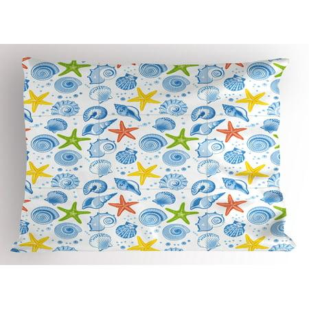 - Sea Shells Pillow Sham Starfishes Aqua Marine Inspirations Aquarium Oyster Nautical Wildlife Underwater, Decorative Standard Size Printed Pillowcase, 26 X 20 Inches, Multicolor, by Ambesonne
