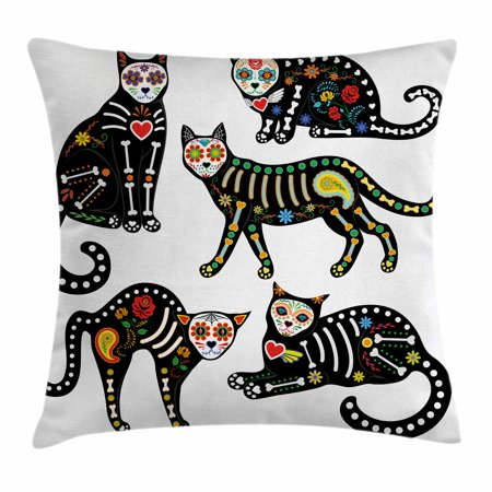 Sugar Skull Decor Throw Pillow Cushion Cover, Calavera Ornate Black Cats in Mexican Style Holiday the Day of the Dead, Decorative Square Accent Pillow Case, 16 X 16 Inches, Multicolor, by Ambesonne - Sugar Skull Cat