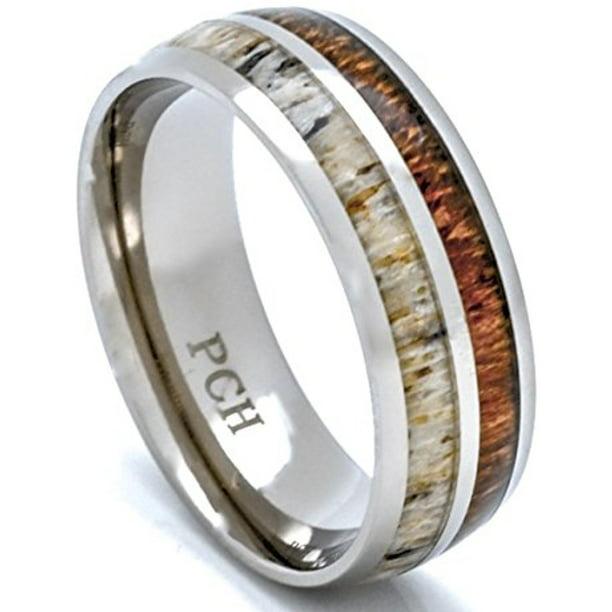 Deer Antler And Koa Wood Ring Titanium Mens Wedding Band Comfort