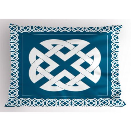 - Celtic Pillow Sham Everlasting Knot Motif Representing Four Elements Earth Fire Water and Air, Decorative Standard Size Printed Pillowcase, 26 X 20 Inches, Petrol Blue White, by Ambesonne