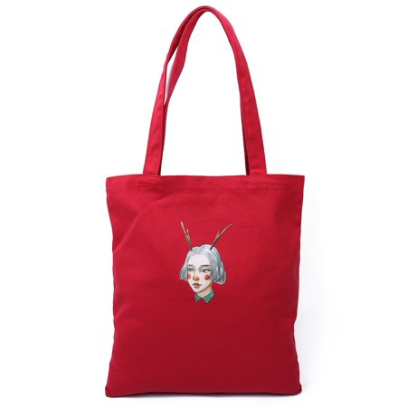 Pattern Tote Bag Handbag Purse (Canvas Girl Pattern Reusable Shoulder Strap Tote Shopping Bag Handbag Red)