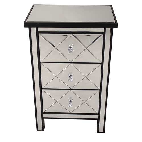 Heather Ann Creations Emmy 3 Drawer Mirrored Accent Cabinet