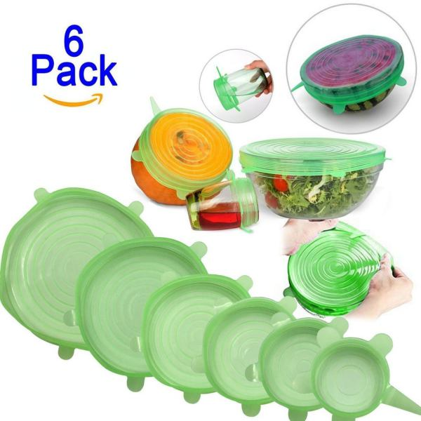 SWEETLIFE 6Pcs/pack Reusable Stretch Silicone Wrap Food Fresh Keeping Wrap Kitchen Tools