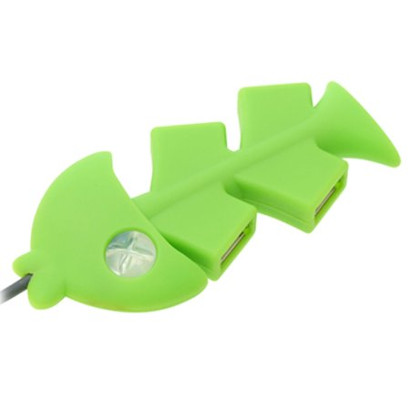 4 Port USB 2.0 Hub Green Fish Bone for PC Desktop (Fish Usb)