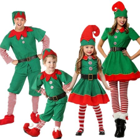 Cute Adult Costumes (Adult Men Women/Kids Cosplay Cute Dress Polyester Christmas Elf)