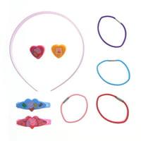9pc Hair Accessories Girls Gift Set Hair Ponies Headband Barrette (3 Characters)