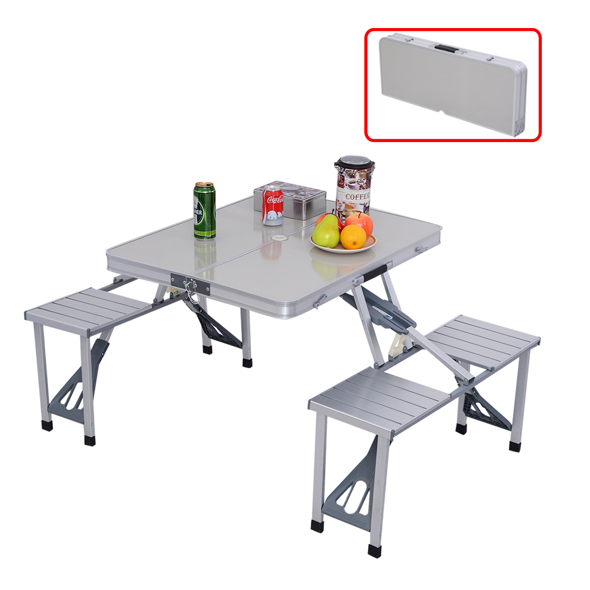 Costway Outdoor Garden Aluminum Portable Folding Camping Picnic Table W/ 4  Seats   Walmart.com