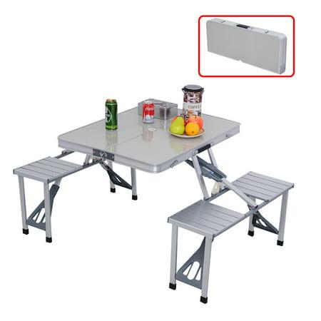costway outdoor garden aluminum portable folding camping picnic table w 4 seats. Black Bedroom Furniture Sets. Home Design Ideas