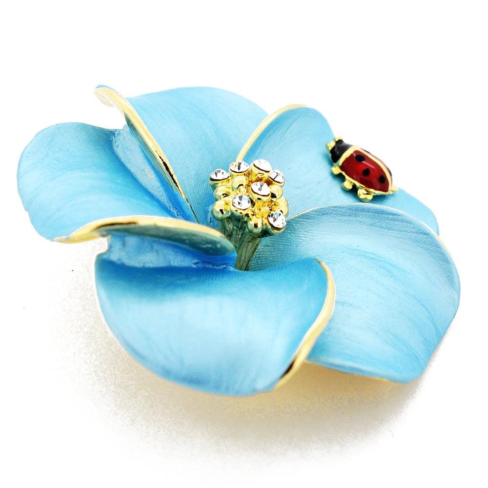 Blue hawaiian plumeria with red ladybug swarovski crystal pin brooch blue hawaiian plumeria with red ladybug swarovski crystal pin brooch and pendant walmart izmirmasajfo