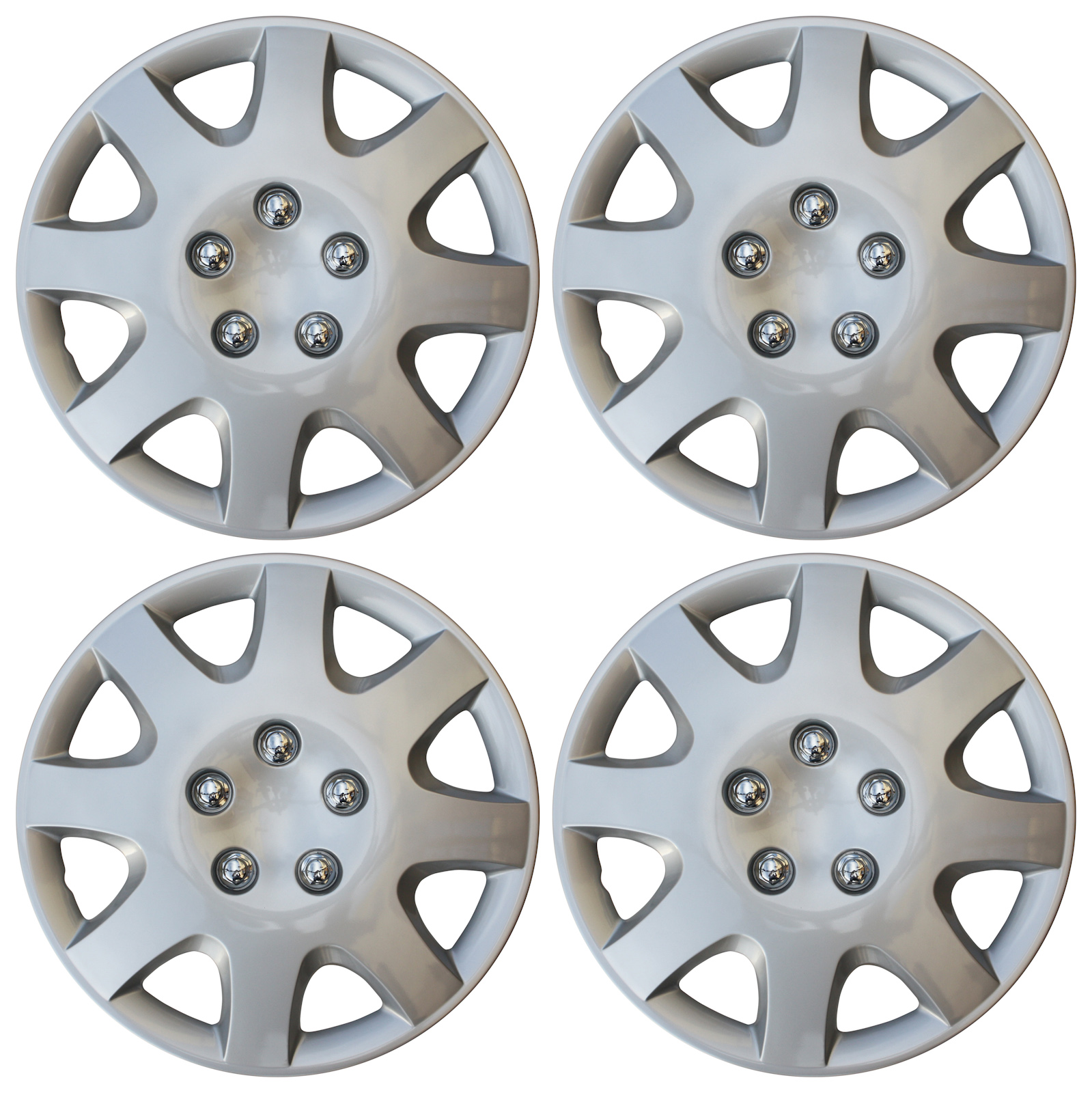 "Hub Cap ABS Silver 15"" Inch Rim Wheel Skin Cover Center 4 pc Set Caps Covers"
