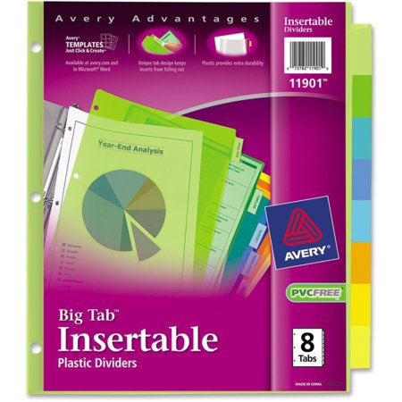 Avery Big Tab Plastic Insertable Dividers - 8 Print-on Tab(s) - 8 Tab(s)/Set - 3 Hole Punched - Plastic Divider - Multicolor Tab(s) - 8 / Set