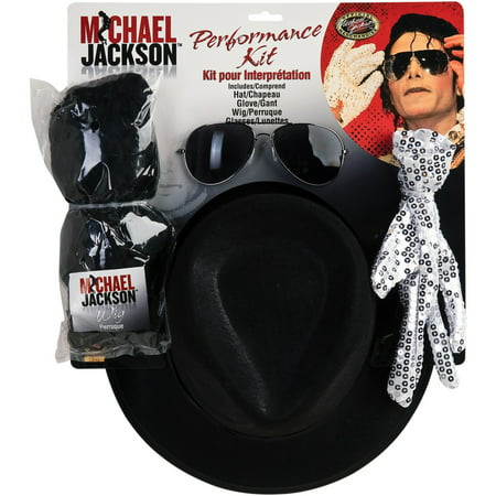 Michael Jackson WIG GLOVE HAT & GLASSES KIT (Rabbit Knit Hat)
