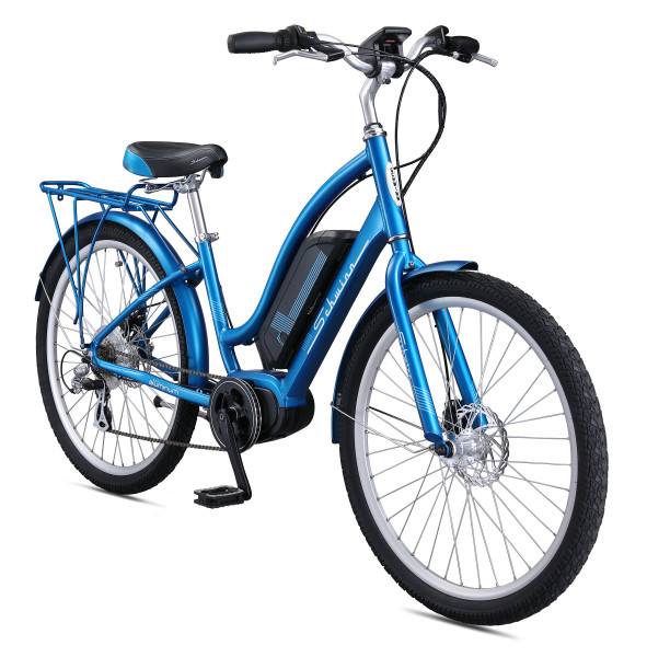 Schwinn Constance 250 Watt 7-Speed Mid Drive Cruiser Electric Bicycle, Blue