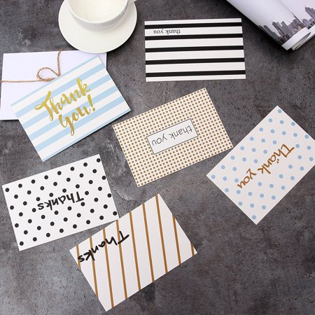Ohuhu Thank You Cards 48 Assorted, Postcard Style Thank U Greeting Card of 6 Designs, One Blank Side Note Cards Card Stock W/ 48 Envelopes & 48 Stickers for Wedding, - Thank You Notes For Baby Shower
