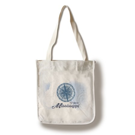 Gulfport, Mississippi - Compass - Blue - Coastal Icon - Lantern Press Artwork (100% Cotton Tote Bag - Reusable) ()