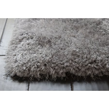 NEW Plain Solid Accent Light Gray Light Grey Silver Metallic TWO TONE Shag Shaggy 5x7 Modern Contemporary Fluffy Fuzzy Furry Flokati High Pile Thick Plush Living Room Bedroom SALE – Romance Silver - Modern Auto Sales Hollywood