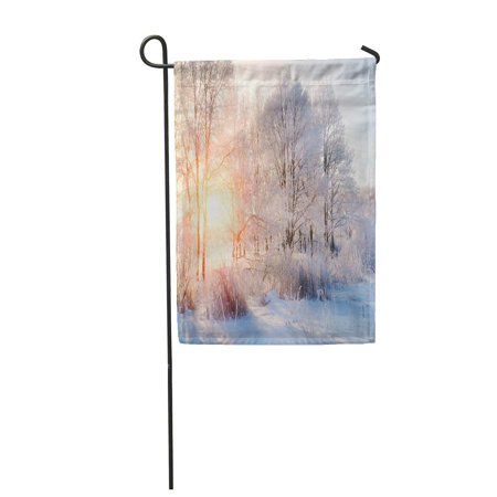 JSDART Winter Landscape Frosty Trees in Snowy Forest The Sunny Garden Flag Decorative Flag House Banner 28x40 inch - image 1 of 1