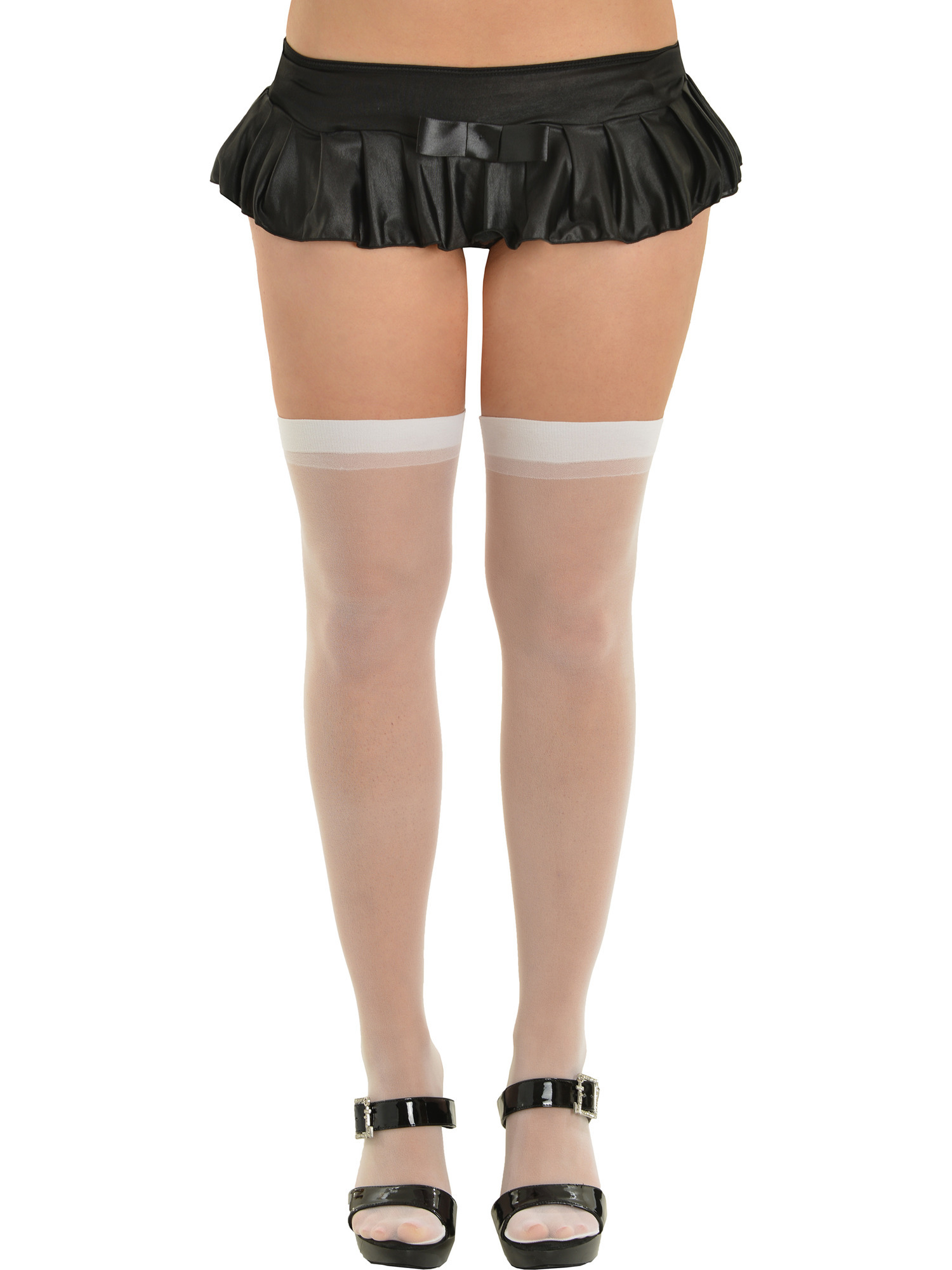 Womens Sheer Thigh High Nylons White Red Ivory Pink Nude or Black Stockings