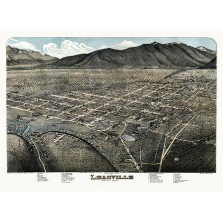 Lake County Colorado Map.Antique Map Of Leadville Colorado 1879 Lake County Canvas Art 24