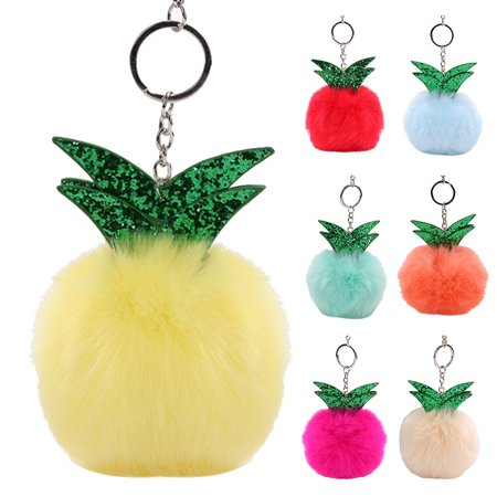 Girl12Queen Cute Pineapple Faux Fox Fur Fluffy Keyring Pendant Bag Hanging Fashion Key Chain for $<!---->