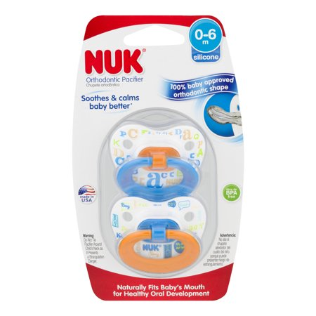 NUK Fashion Baby Talk Orthodontic Pacifier, 0-6 Months, 2 Pack, Silicone, Boy