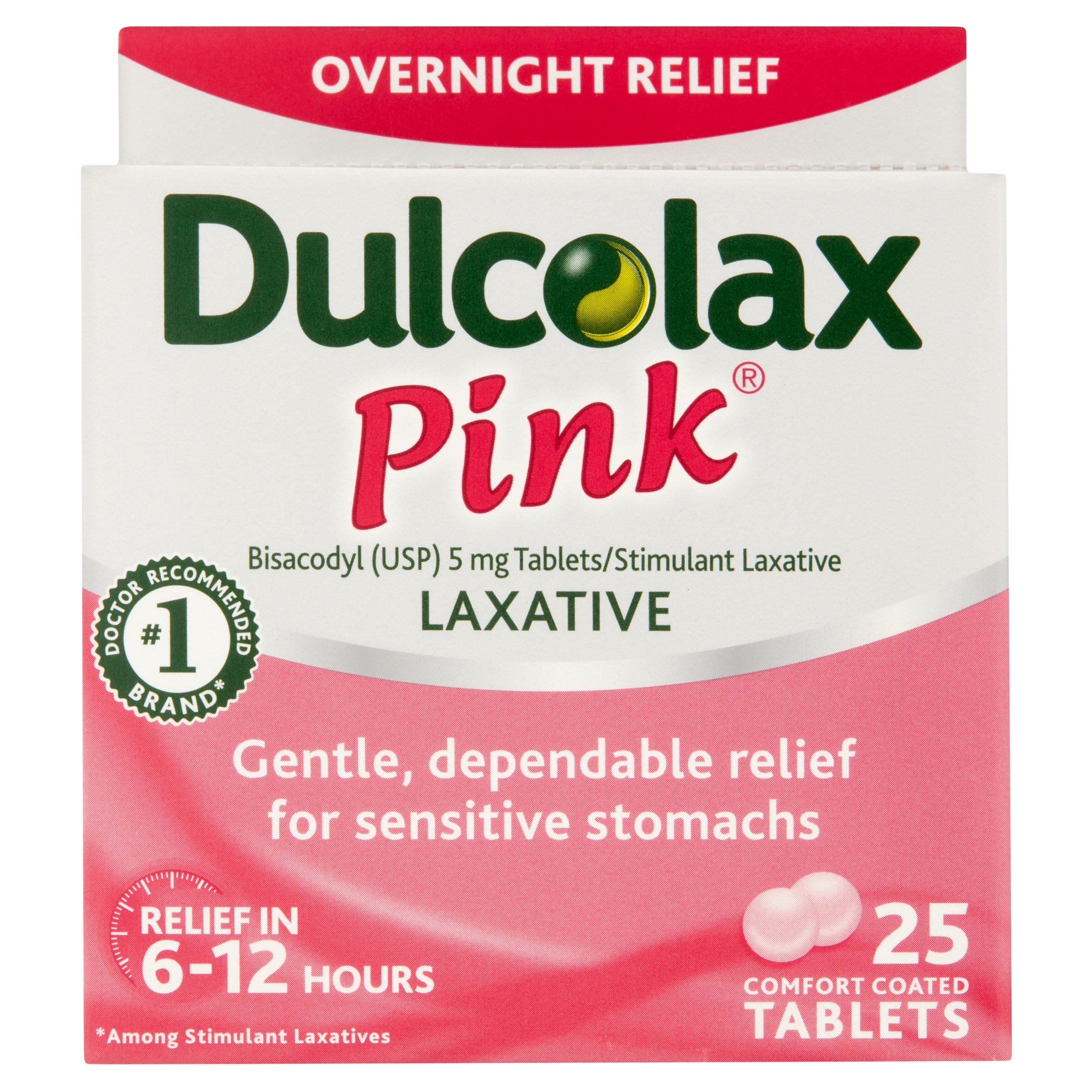 Dulcolax Pink Laxative Comfort Coated Tablets 25ct, Bisacodyl USP 5 mg Tablets/Stimulant Laxative