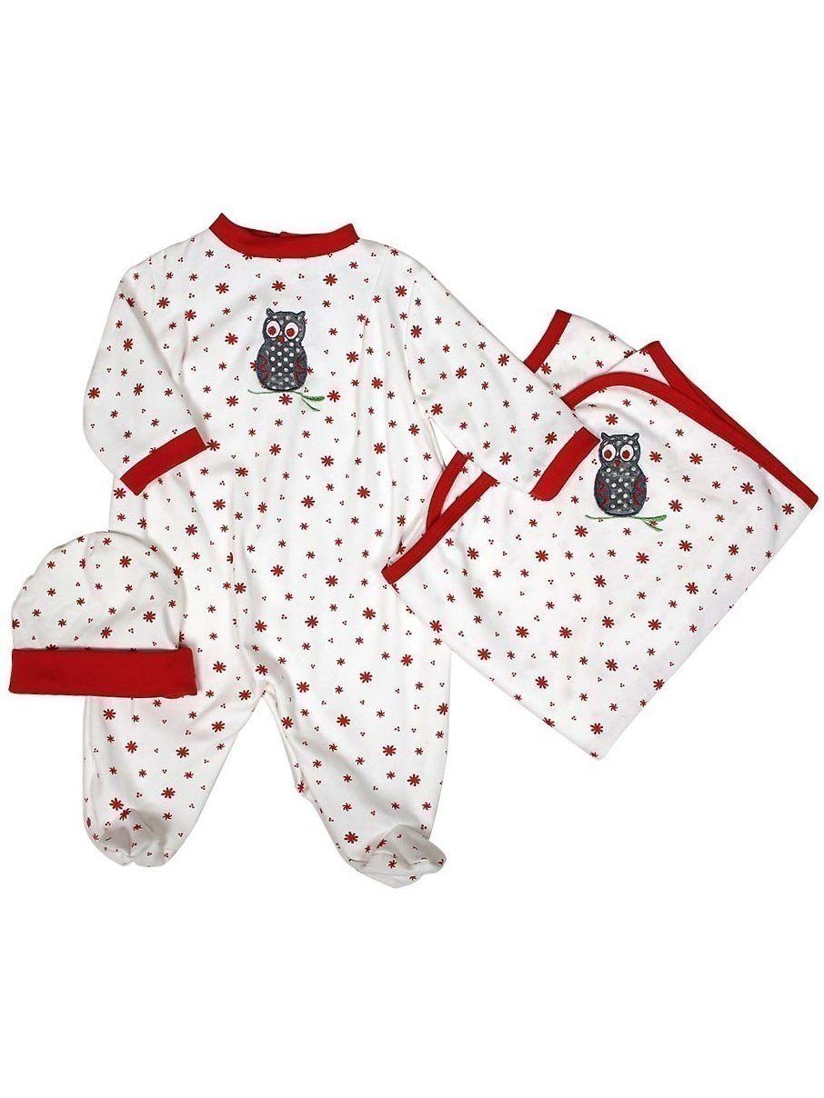 "Raindrops Unisex Baby Red Owl Footie Receiving Blanket Cap Set 28""-34"" by Raindrops"