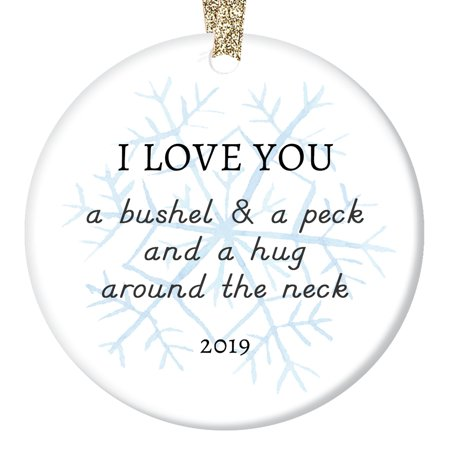 2019 Christmas Ornament Ceramic Parents to Son Daughter Mom Dad Love Hugs & Kisses Lovely Snowflake Special Child Adopted or Stepchildren Porcelain 3