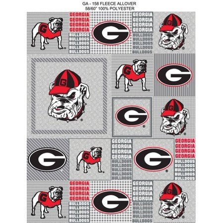 Georgia Tech Fabric (University of Georgia Heather Grey Printed Fleece Fabric-Sold by the Yard )