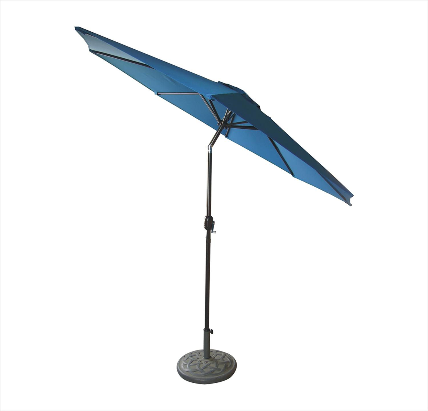 9u0027 Outdoor Patio Market Umbrella With Hand Crank And Tilt   Cobalt Blue