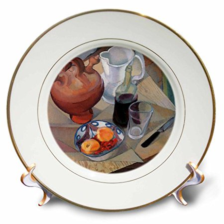 (3dRose Still Life by Diego Maria Rivera Bowl of Fruit and Wine Bottle with Glass, Porcelain Plate, 8-inch)