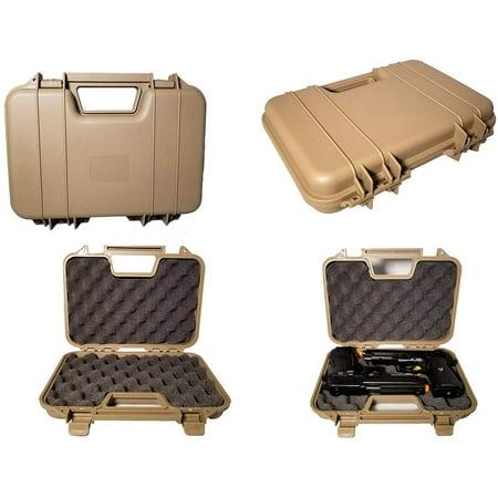A&N Gun Pistol Handgun Airgun Hard Durable Portable Lockable Case Safe - Black Red Tan- L12-W10-H3 (Tan) thumbnail