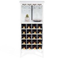 Wood Wine Rack Storage Cabinet 20 Bottles Display Home Bar w/ Glass Holder Burgundy