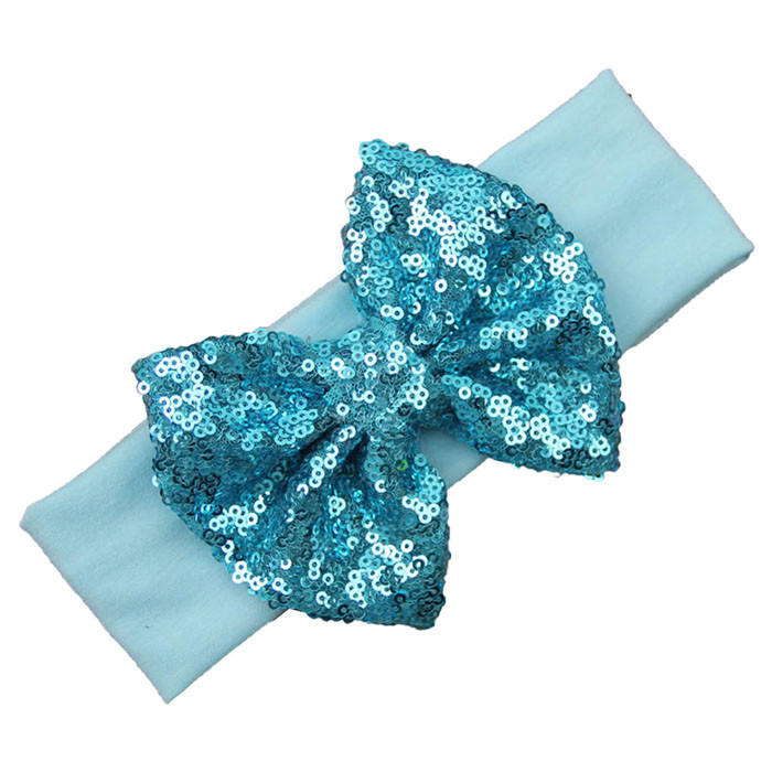 Outtop Fashion Elastic Children Headband Cute Sequins Bow Baby Girl Hair Accessories F