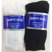 Creswell 6 Pairs of Mens Black and White Diabetic Crew Socks 10-13 Size