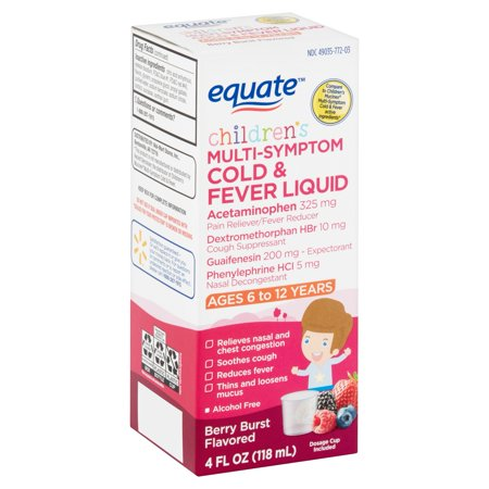 Equate Children's Berry Burst Flavored Multi-Symptom Cold & Fever Liquid, Ages 6-12 Years, 4 fl